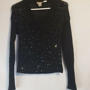 MUDD Black Sweater Silver Sequins S